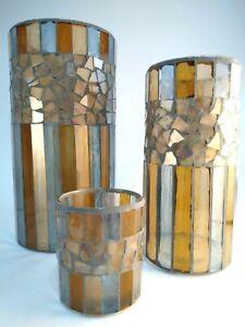 Set of 3 - Hurricane Cut Glass Candle Holders - Pillar, Votive - Brown, Lt Blue