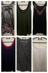 Bundle Of 6 Sleeveless Tops Tunic Size 22 Vest