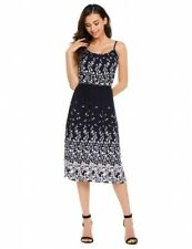 """Darlene"" Gorgeous Ladies Size 14 Navy Blue & White Floral Cotton Summer Dress"