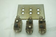VINTAGE PUSH BUTTON LIGHT SWITCH 3 WAY BACK PLATE WALL PERKINS YANKEE ELECTRIC d
