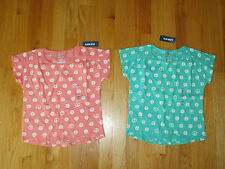 Twin girls Old Navy PEACE SIGNS peach and aqua tops shirts NWT 5