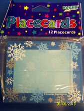 Snowflakes Blue White Winter Christmas Holiday Party Decoration Tent Place Cards