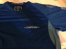 Blue Dryfit/Mesh Tee: 300 Million Strong Competing Every Day. Mens MEDIUM