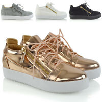 Womens Casual Sneakers Flat Lace Up Zip Pumps Ladies Comfy Trainers Shoes Size