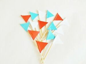 Red White Blue Cupcake Picks Embellishments Cake Toppers Flags Baking Crafts