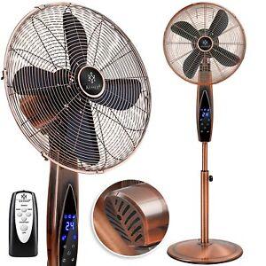 RETOURE Standventilator Metall mit Fernbedienung, Timer Standlüfter 80 Grad, 55W
