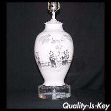 Vintage Italian Oriental Asian Pottery Lamp w Lucite Base Mid Century Modern