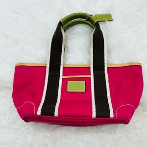 COACH Hampton Mini Satchel Handbag #L3K-6260 Pink Nylon w/Tan Leather Trim