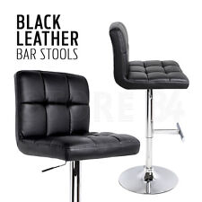 2 x Bar Stool BLACK PU Leather Adjustable Gas Lift Kitchen Chair Home Furniture