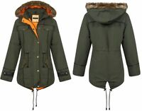 New Womens Ladies Quilted Contrast Inner Fishtail Parka Jacket