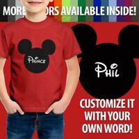 Personalized Custom Print Your Text Mickey Mouse Youth Toddler Kids Tee T-Shirt