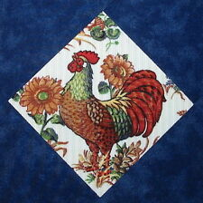9 Country Chicken Rooster Quilt top blocks in blue