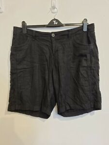Ladies Black Lightweight Non Stretch Linen Shorts From Faded Glory Size 18