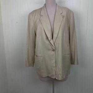 Elisabeth Liz Claiborne Cream Ivory Blazer Jacket Rayon Linen Blend 22