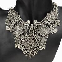 Vintage Hollow Necklace Sculpture Pendant Chain Choker Statement Bib Jewelry Cha