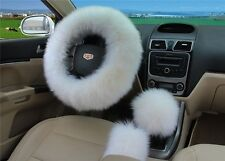 3pc White Australia Wool Fuzzy AutoCar Steering Wheel Cover Universal for Winter