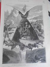 Gravure 1883 - La Chasse et la Pêche en Norvège