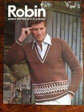 ROBIN ~ Men's V Neck Sweater Knitting Pattern ~ DK ~ 33-46inches(84-117cm) chest