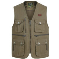 Men Cargo Waistcoat Multi Pocket Gilet Fishing Utility Vest Military Hunting Top