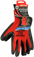 Dekton Ultra Grip Working Gloves Black/Red Nitrile 10/Xl For Diy, Tradesmen
