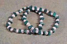 LEE SANDS MALACHITE AND PEARL STRETCH BRACELETS SET OF 2