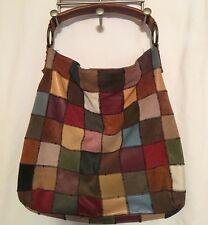 LUCKY BRAND Large Suede Leather PATCHWORK Hobo Slouch Tote Boho Purse Bag Hippy