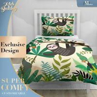 Watercolor Jungle Sloth Kids Cartoon  Duvet Cover King Bed Single Double Queen