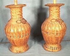 PAIR OF MID CENTURY ASIAN BASKETWEAVE BAMBOO VASE LAMPS
