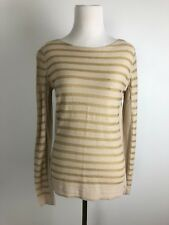 Striped Gold and Cream Knit Tory Burch Sweater Women's Size Small