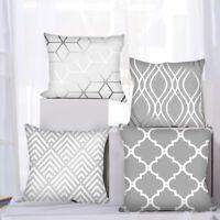4PCS 18''Gray Geometric Pattern Pillow Case Cushion Cover Sofa Home Deocor 03