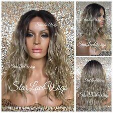 Lace Front Wig Sandy Blonde Ash Blonde Champagne Blonde Wavy Dark Roots Heat Ok