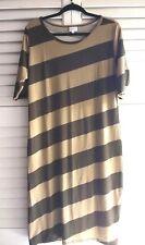 LuLaRoe 2XL Julia Dress Maxi Length Striped Green Diagonal Stretch Olive Green