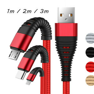 1~3M USB Charger Data Sync iOS Cable Lead For Apple 5 5s 5c 6 7 8 Plus Samsung 8