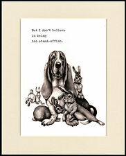 BASSET HOUND COMIC DOG PRINT MOUNTED READY TO FRAME #6