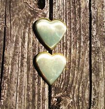 Solid BRASS Heart Shaped Bridle / Harness Headstall Rosettes Loop Back Conchos