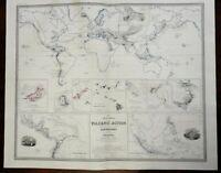Volcanoes of the World Earthquake Zones Hawaii Iceland 1856 Blackwood map