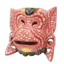 Indonesia Balinese Red Monkey Wooden Mask Wall Hanging Home Decor