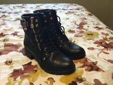 G by Guess Black Combat Boots Gold accents Size 8.5 8 1/2