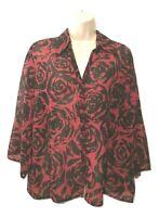 Fashion Bug Women's Blouse Size XL 3/4 Sleeve Floral Button Down Shirt