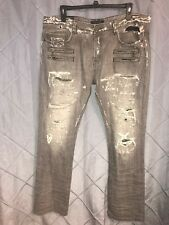 Men Authentic Cult Of Individuality 40 X 34 Gray Distressed Straight Leg Jeans