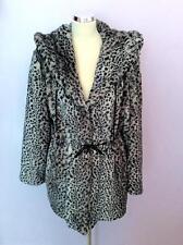 Designer CHAMONIX Grigio, Nero, Marrone Leopard stampa cappotto in pelliccia sintetica misura 3 Regno Unito 16
