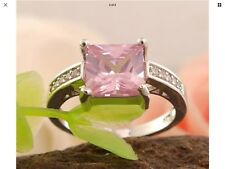 Silver Plated Pink Rose Crystal Solitaire Fabulous Design New Gift Idea