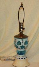 VINTAGE BOHEMIAN CZECH MOSE WHITE CASED GLASS CUT TO BLUE TABLE LAMP