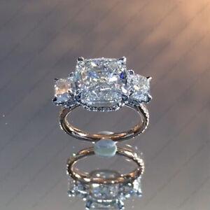 2.7 TCW Cushion Cut DVVS Moissanite 3-Stone Engagement Ring 14K Multi-Tone Gold