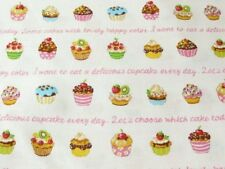 Japanese Cupcakes Cupcake White Fabric Half Yard