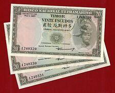 1967 Timor 20 Escudos Cuhaj 26 unc three no. 1240329/31