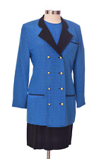 Blue and Black louis feraud  Skirt Suit Long Sleeves Size 10