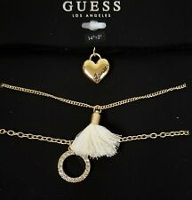 GUESS SET OF 3 GOLD CHAIN,CORD,HEART,TASSEL,HOOP,CRYSTALS,BLACK CHOKER NECKLACE