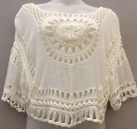 "Apricot Uk M 48"" Ivory Oversize Crochet Top Boho Hippy Festial Summer Casual"