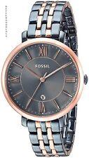 FOSSIL women Jacqueline Two-Tone Stainless Steel Bracelet Watch 36mm ES4321 Blue
